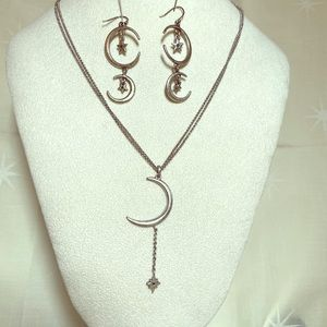 Lucky brand  moon and star necklace earrings set